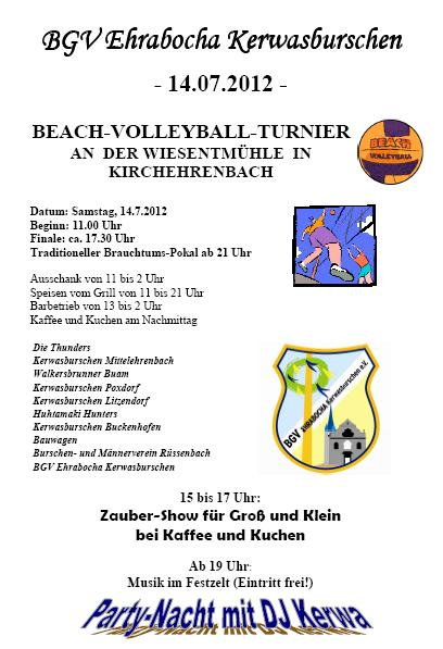 Werbung Beach Volleyball Turnier 2012